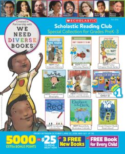 A WNDB and Scholastic Book Club flyer.