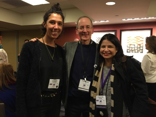 WNDB Illustration Mentor Carolyn Dee Flores with her mentee Jacqueline Alcantara and Caldecott medalist Paul O. Zelinsky.