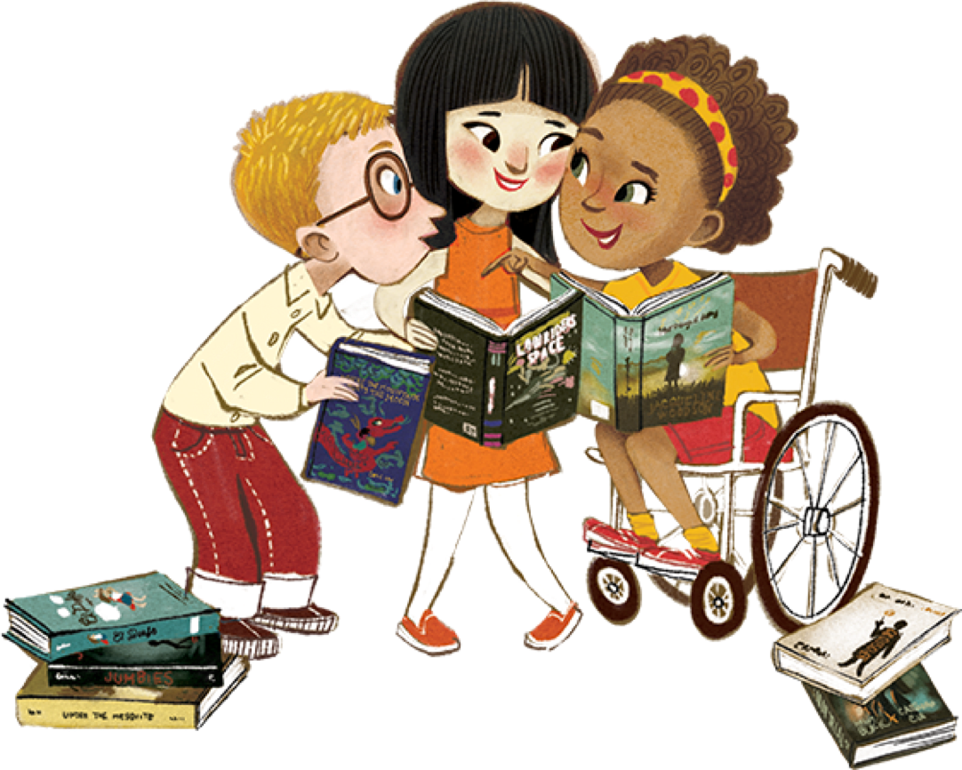 Illustration of diverse children sharing books and talking
