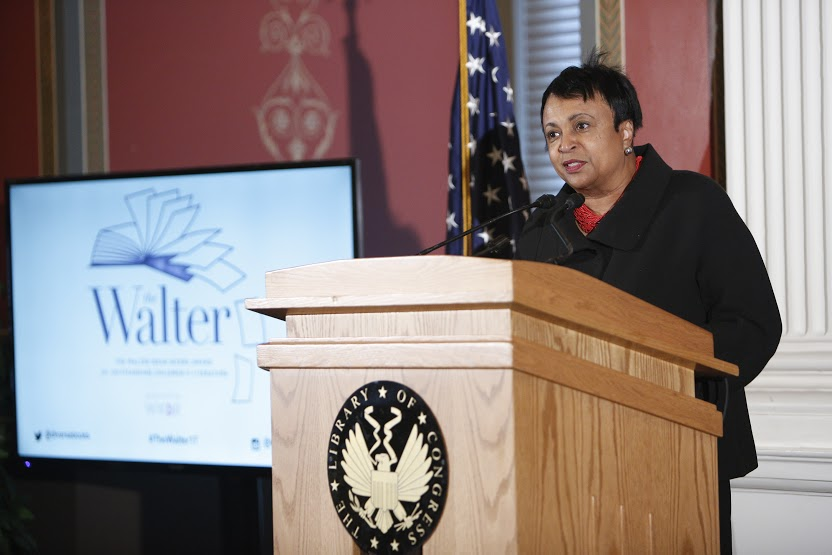 Librarian of Congress Carla Hayden speaks at the We Need Diverse Books 2017 Walter Award ceremony, March 31, 2017. Photo by Shawn Miller.