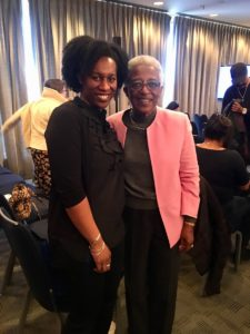 Dr. Rudine Sims Bishop and WNDB volunteer coordinator Leah Henderson at the 2018 Walter Awards & Symposium.