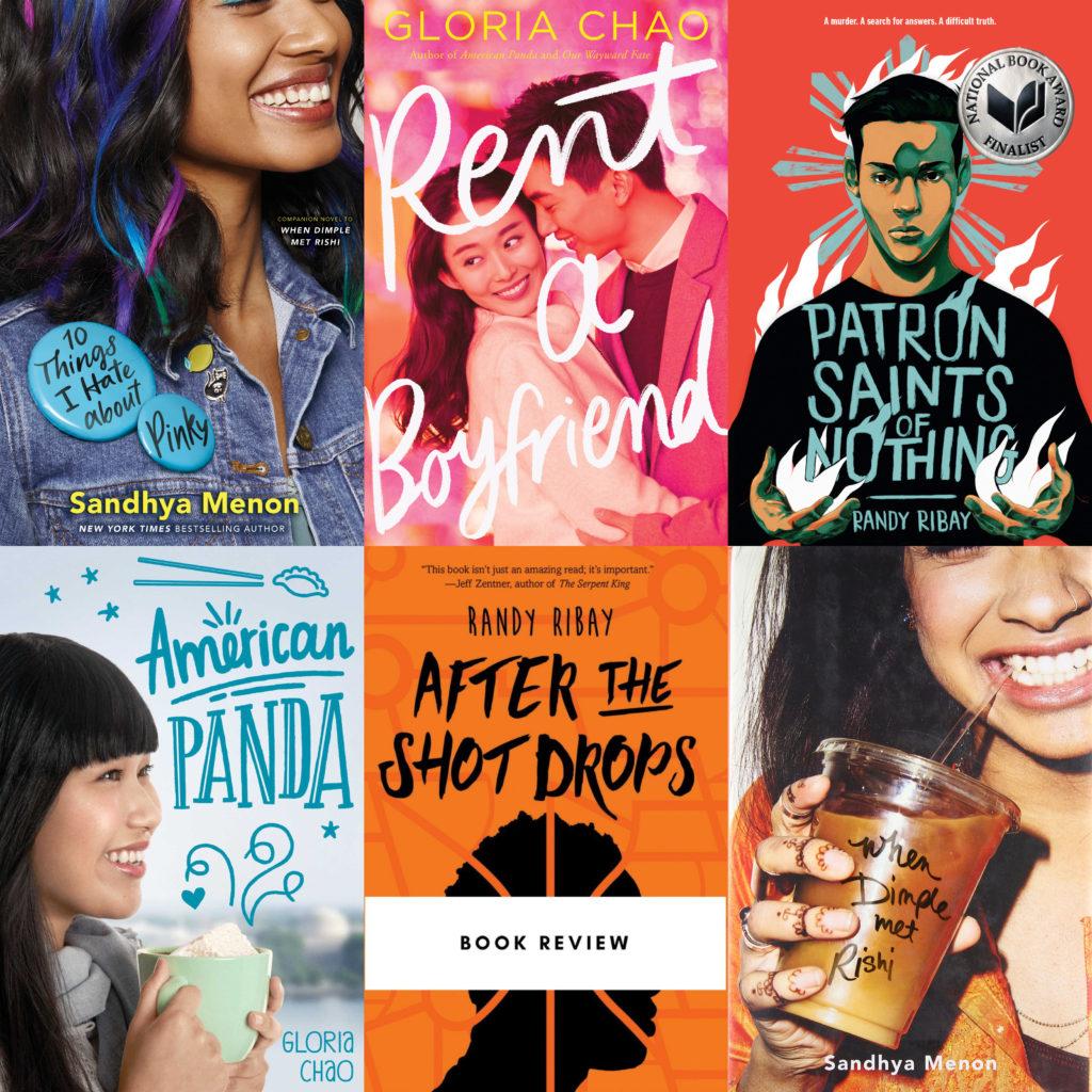 6 book covers Randy Ribay Gloria Chao Sandhya Menon