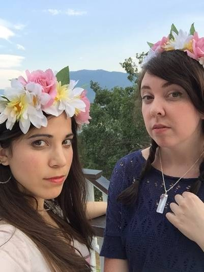 Anna-Marie McLemore and Tehlor Mejia in flower crowns