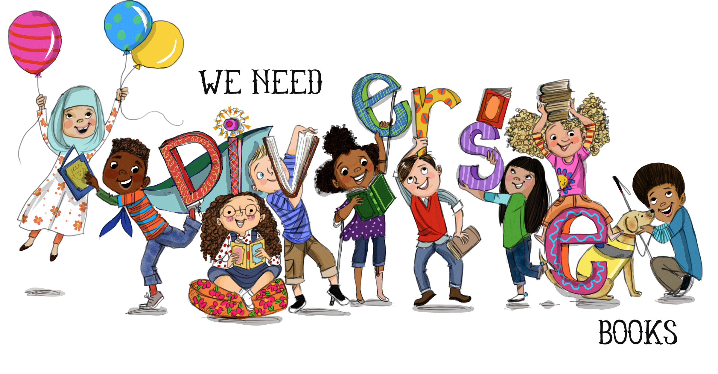 Illustration of several children of diverse ethnicities and abilities reading books and playing, with text We Need Diverse Books