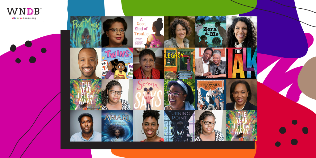 Graphic featuring Black Middle Grade authors featured on the WNDB blog