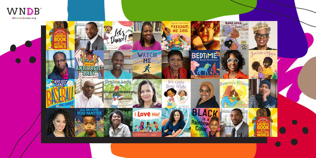 Graphic featuring Black picture book authors featured on the WNDB blog