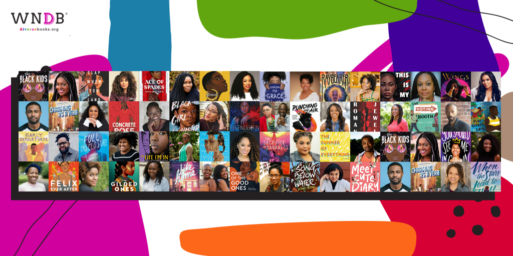 Graphic featuring Black YA authors featured on the WNDB blog