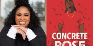 Angie Thomas's headshot and cover art for CONCRETE ROSE