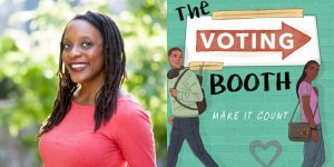 Brandy Colbert's headshot and cover art for THE VOTING BOOTH