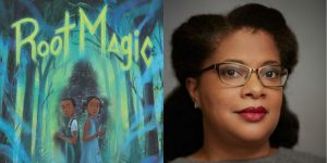 Eden Royce's headshot and cover art for ROOT MAGIC