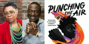 Ibi Zoboi & Yusuf Salaam's headshot and cover art for PUNCHING THE AIR