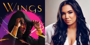 J. Elle's headshot and cover art for WINGS OF EBONY