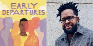 Justin A. Reynolds's headshot and cover art for EARLY DEPARTURES