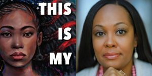 Kim Johnson's headshot and cover art for THIS IS MY AMERICA