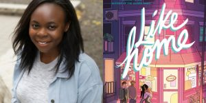 Louisa Onomé's headshot and cover art for LIKE HOME