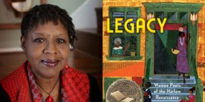 Nikki Grimes's headshot and cover art for LEGACY