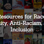 "Graphic featuring the WNDB banner of diverse books and text that reads ""Resources for Race, Equity, Anti-Racism, and Inclusion"""