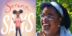 Tanita S. Davis's headshot and cover art for SERENA SAYS