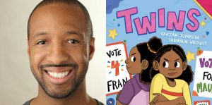 Varian Johnson's headshot and cover art for TWINS