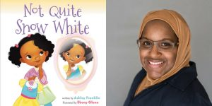 Ashley Franklin's headshot and the cover art for NOT QUITE SNOW WHITE