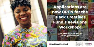 WNDB Program Manager Breanna J. McDaniel's headshot and a graphic for the Black Creatives Fund