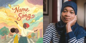 Jamila Thompkins-Bigelow's headshot and the cover art for YOUR NAME IS A SONG