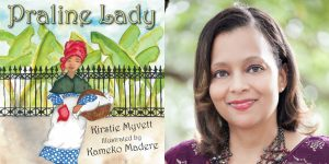 Kirstie Myvett's headshot and the cover art for PRALINE LADY