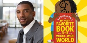 Malcolm Mitchell's headshot and the cover art for MY VERY FAVORITE BOOK IN THE WORLD
