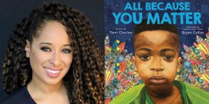 Tami Charles headshot and book cover for ALL BECAUSE YOU MATTER