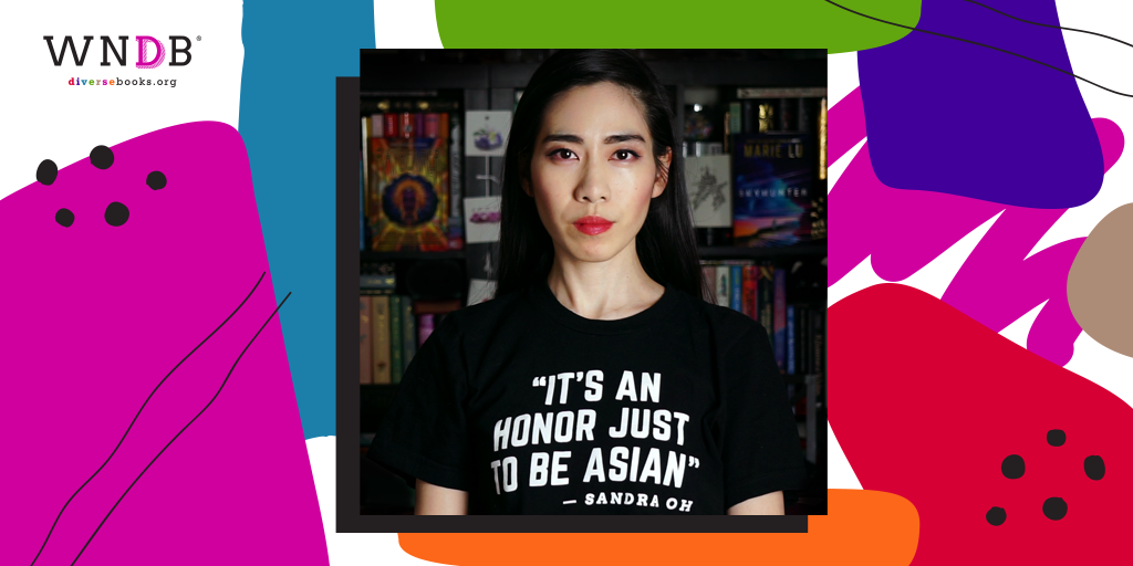 "Graphic featuring the WNDB logo and the headshot of the writer of the piece, an Asian American woman wearing a black t-shirt with white text that reads, ""IT'S AN HONOR JUST TO BE ASIAN. - Sandra Oh"""