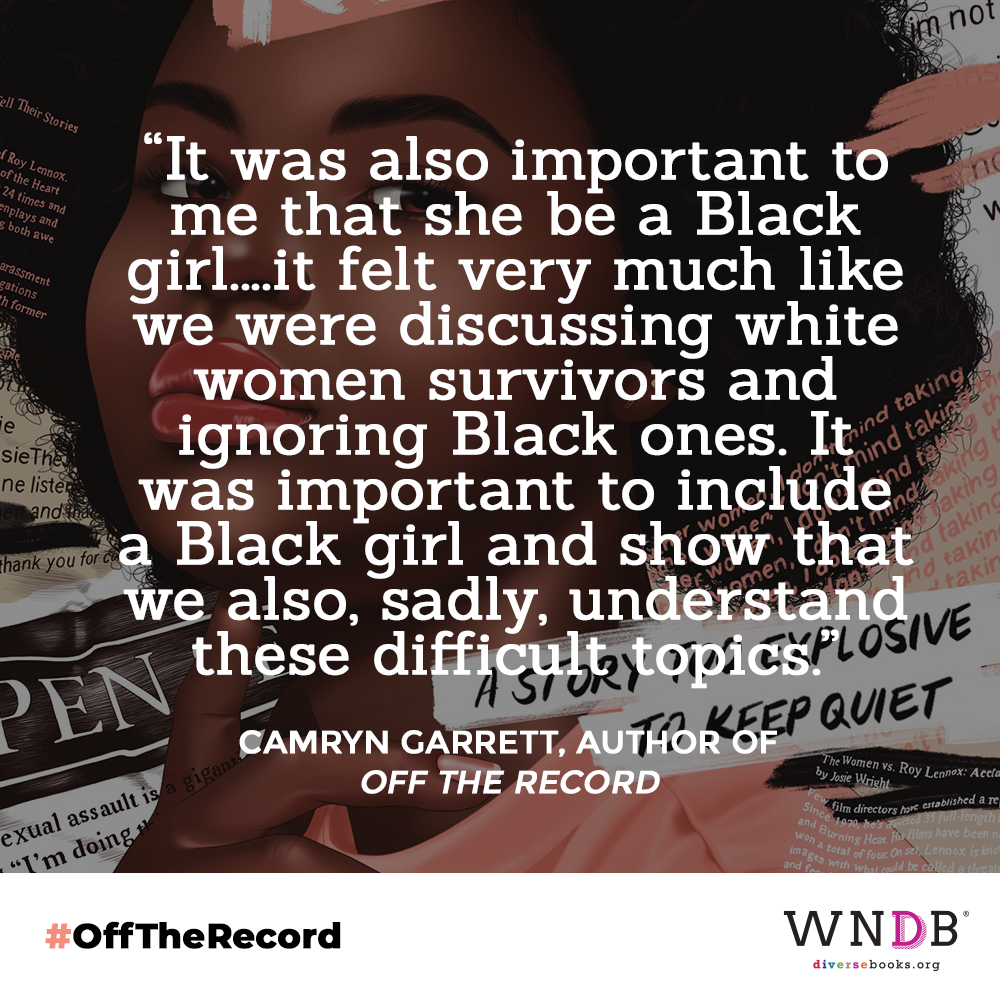 It was also important to me that she be a Black girl. I wrote the first draft of this book before Surviving R. Kelly and On the Record were released, so it felt very much like we were discussing white women survivors and ignoring Black ones. It was important to include a Black girl and show that we also, sadly, understand these difficult topics.