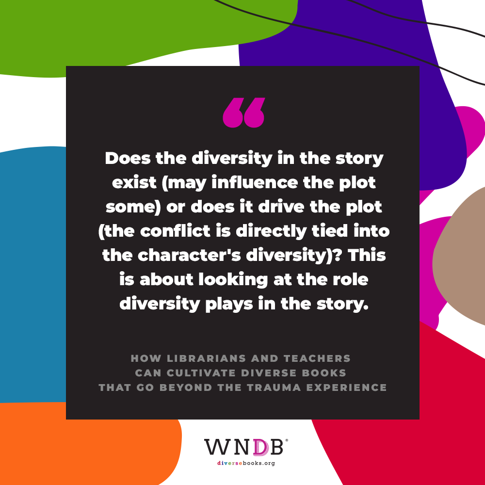 Does the diversity in the story exist (may influence the plot some) or does it drive the plot (the conflict is directly tied into the character's diversity)? This is about looking at the role diversity plays in the story.