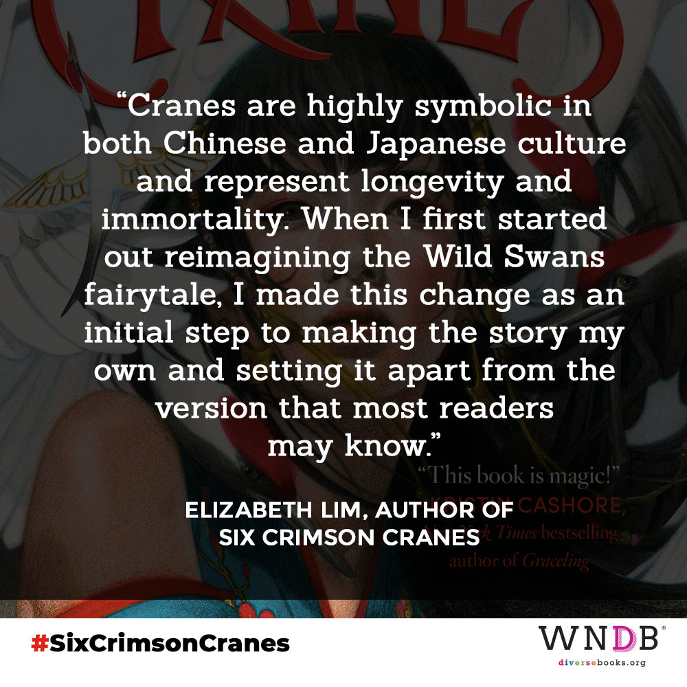 Cranes are highly symbolic in both Chinese and Japanese culture and represent longevity and immortality. When I first started out reimagining the Wild Swans fairytale, I made this change as an initial step to making the story my own and setting it apart from the version that most readers may know.
